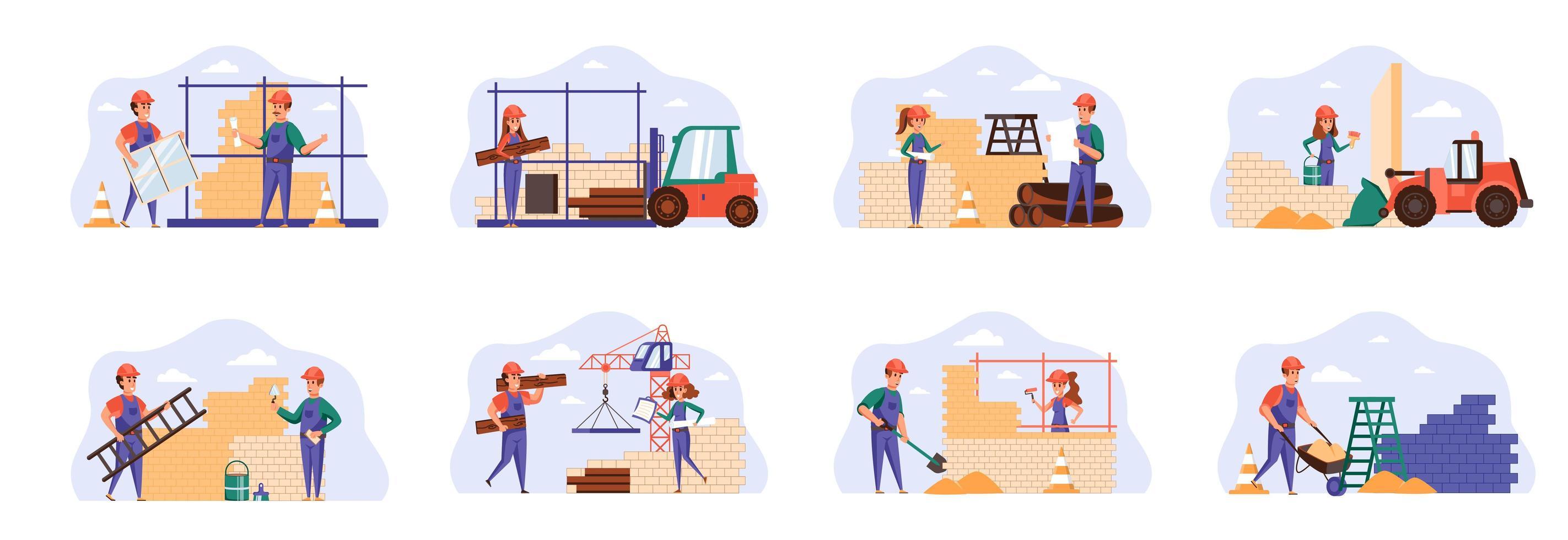 Builders scenes bundle with people characters. vector