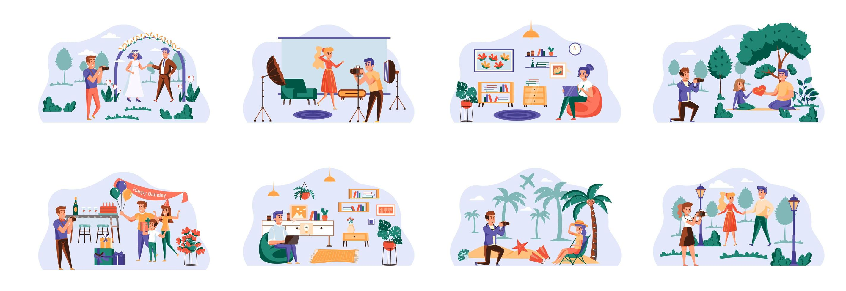 Designers and photographers bundle of scenes with people characters. vector