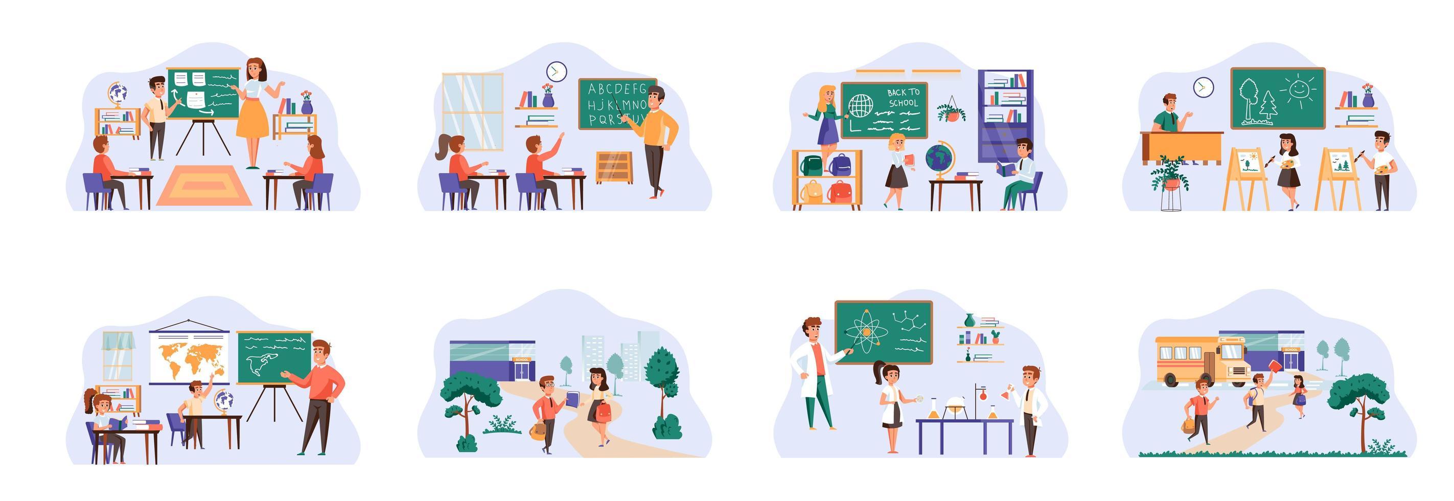 Paquete de aprendizaje escolar de escenas con personajes de personas planas. vector