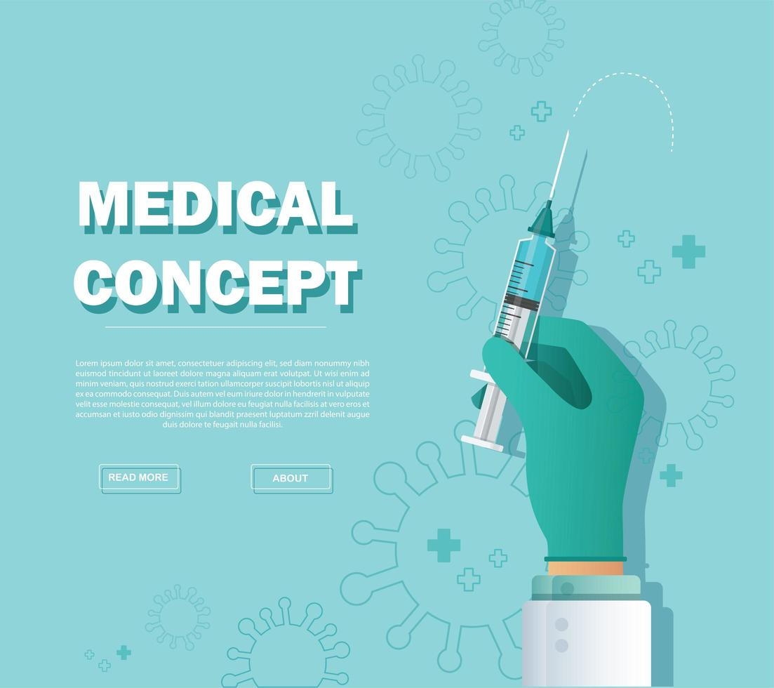 Syringe, medical injection in hand, Vaccination vector illustration