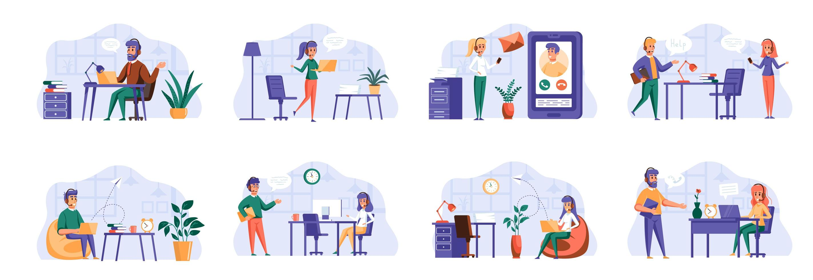 Support service scenes bundle with people characters. vector