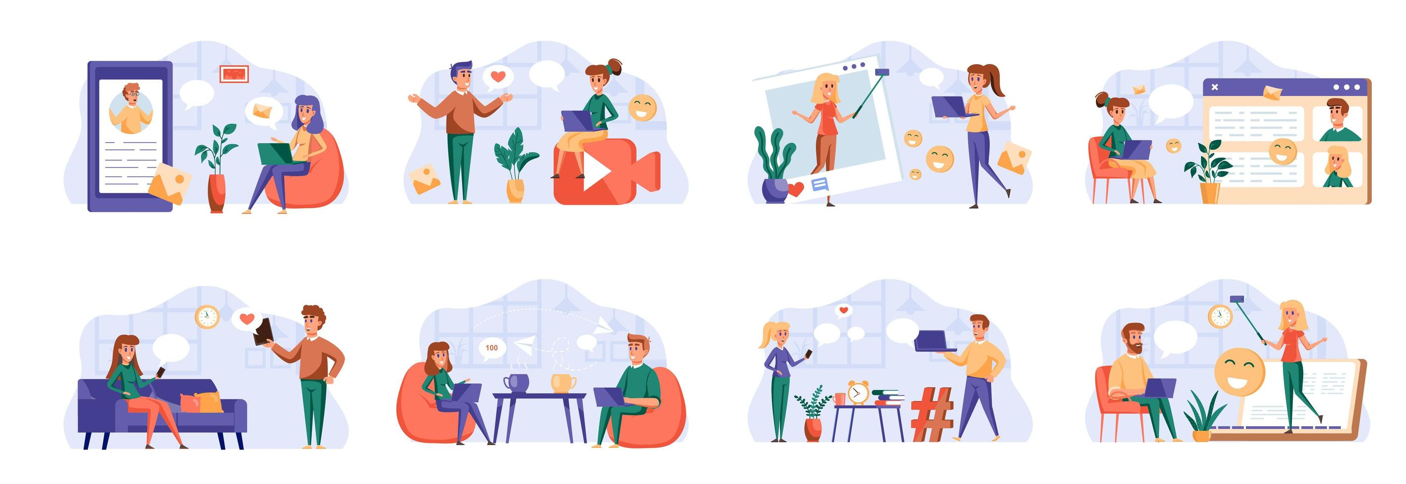 Social media bundle with people characters. vector