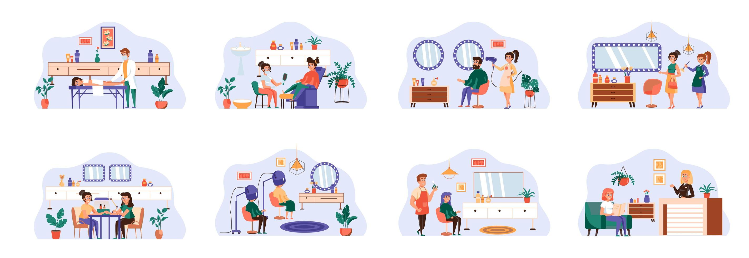 Beauty salon bundle of scenes with flat people characters. vector