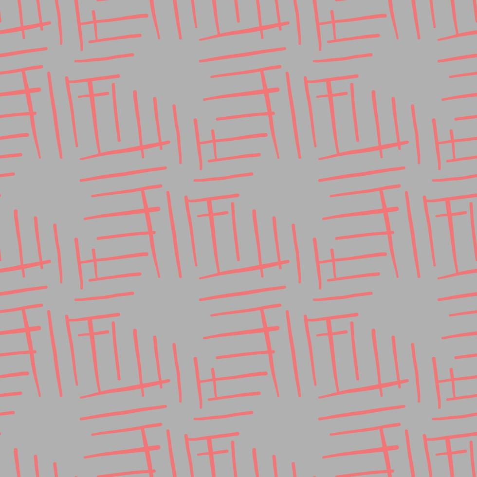 Vector seamless texture background pattern. Hand drawn, grey, red colors.