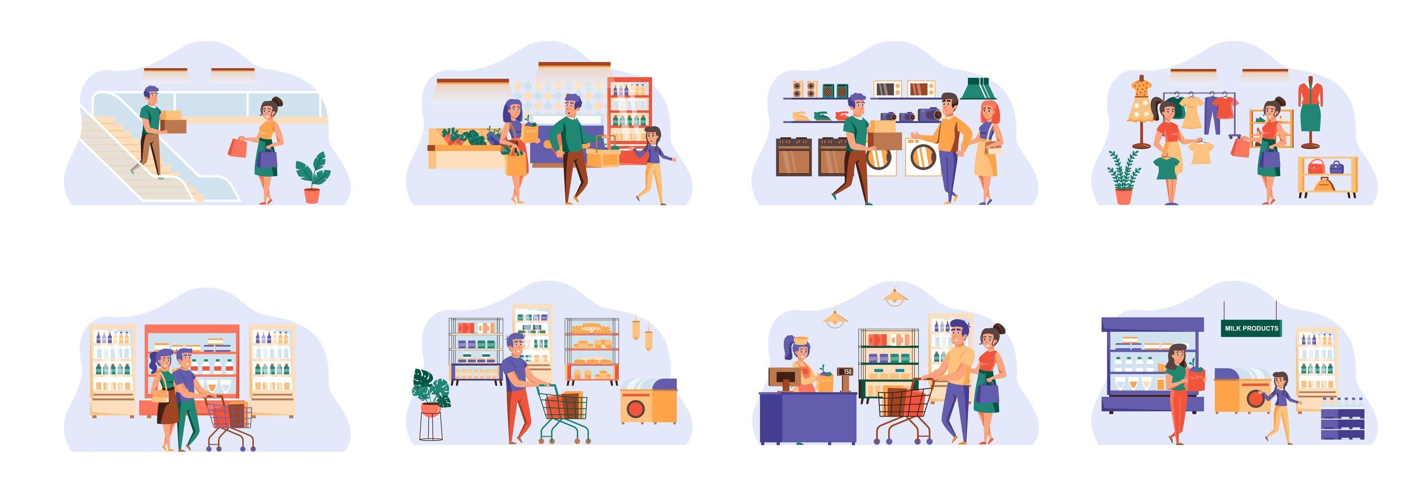 paquete de compras de escenas con personajes de personas planas. vector