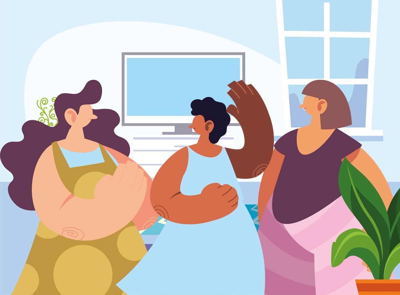 women gathered together sharing at home vector