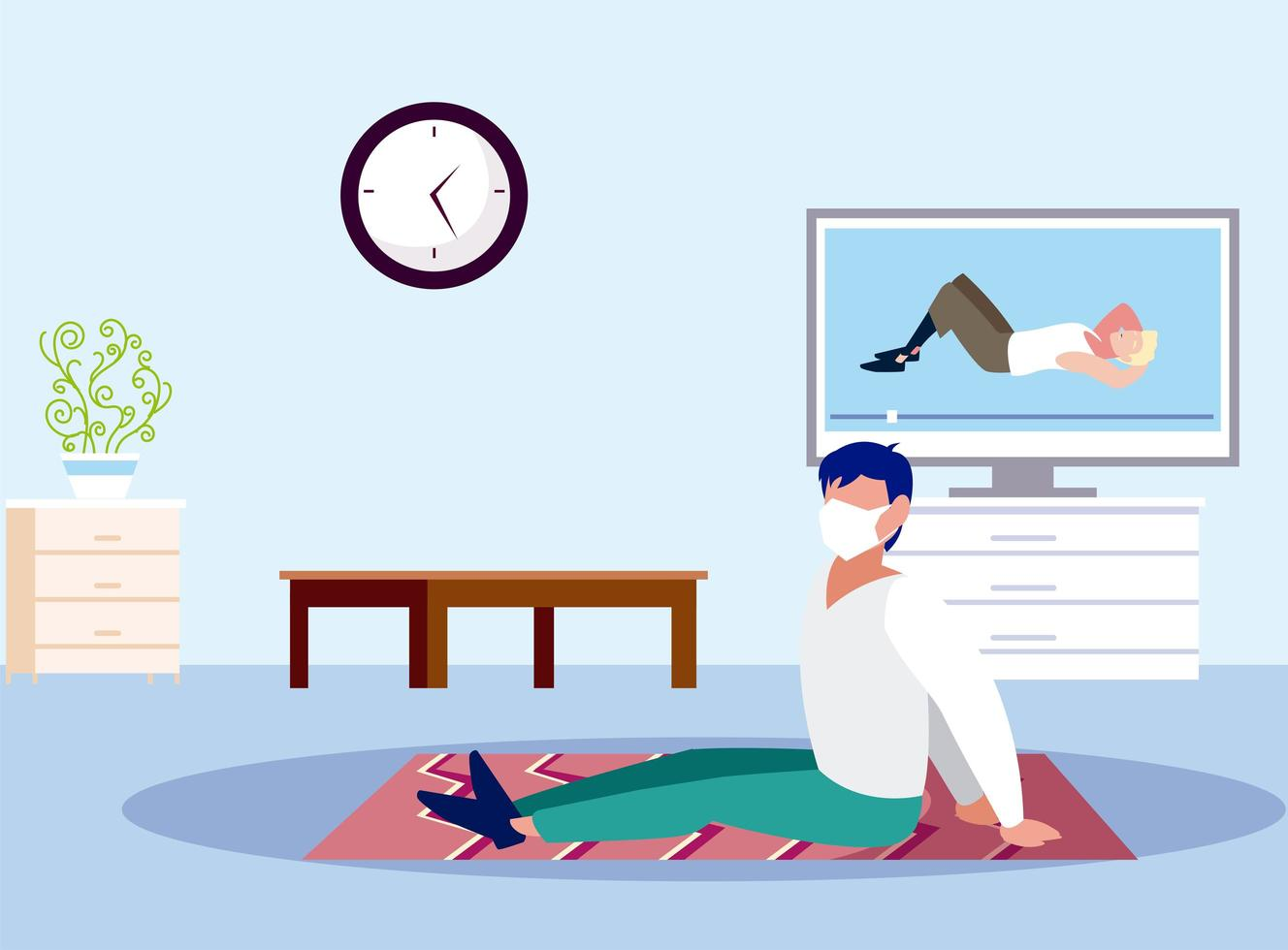 Man doing yoga with mask at home vector design