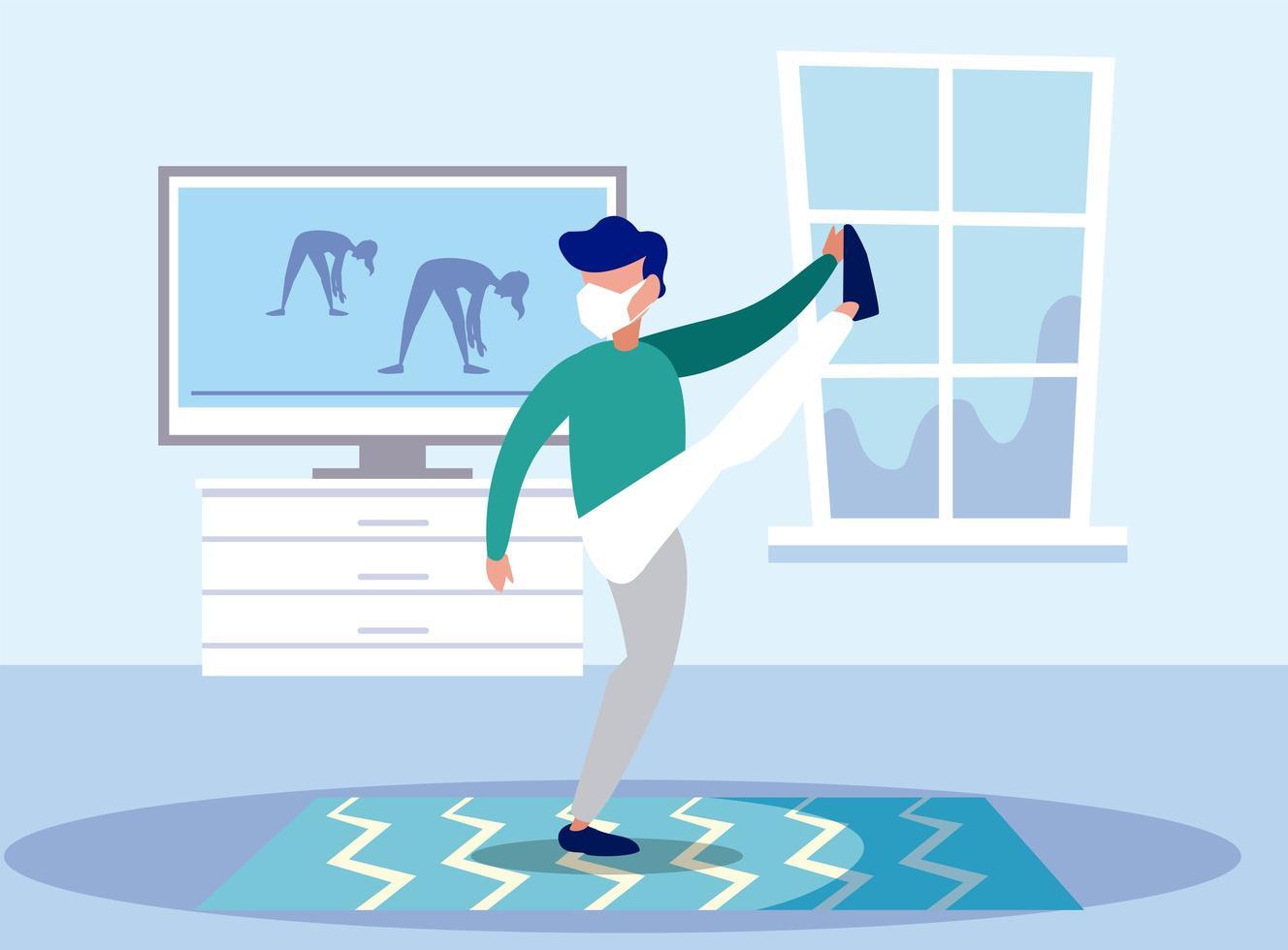 Hombre haciendo yoga con máscara en casa diseño vectorial vector