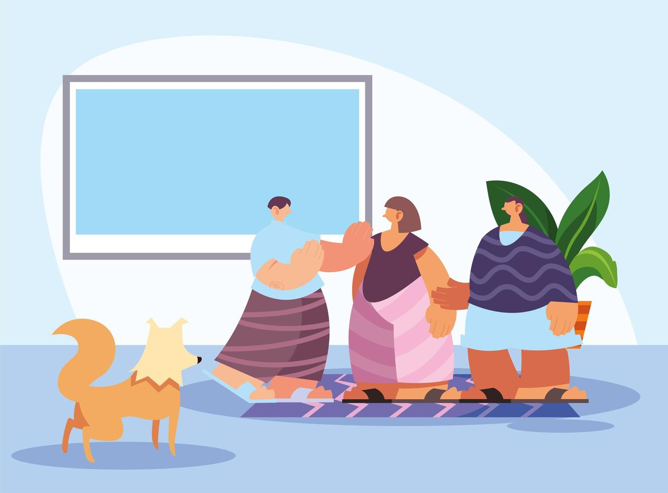 people and pet in home vector