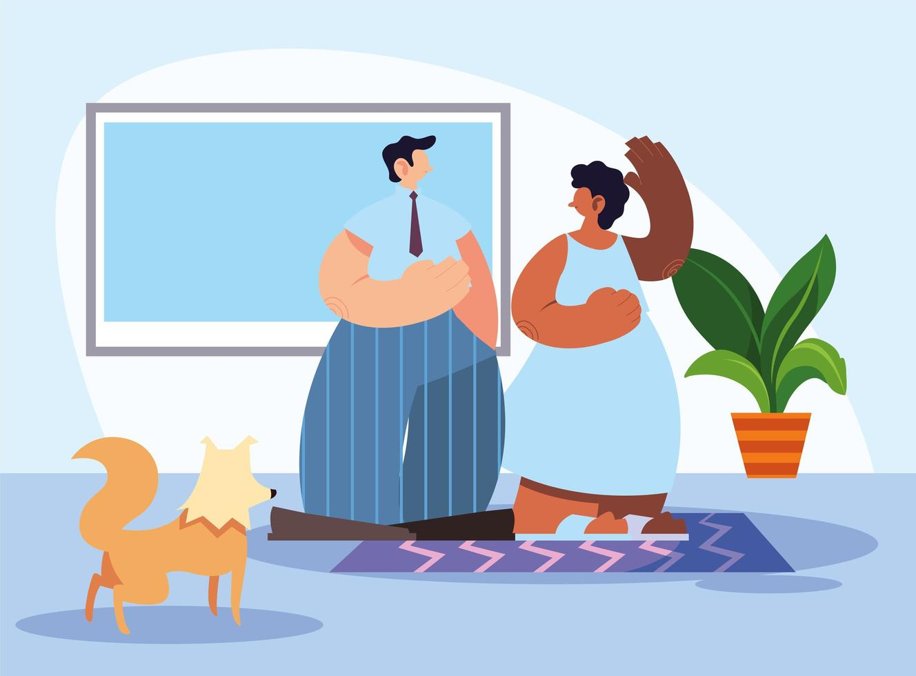 couple and pet in home vector