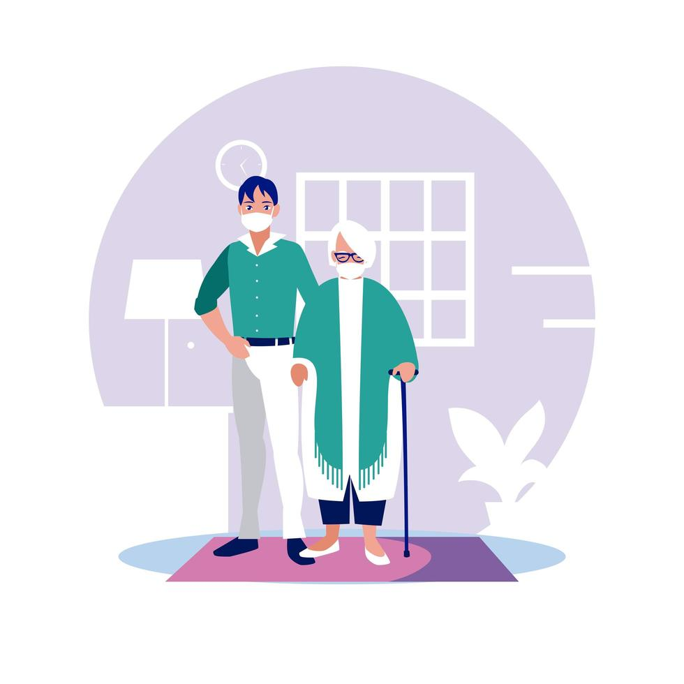 Man and grandmother with masks at home vector design