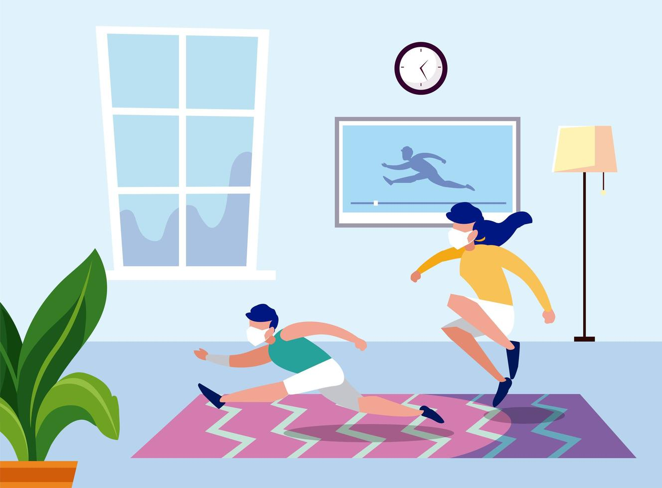 Woman and man exercise with masks at home vector design