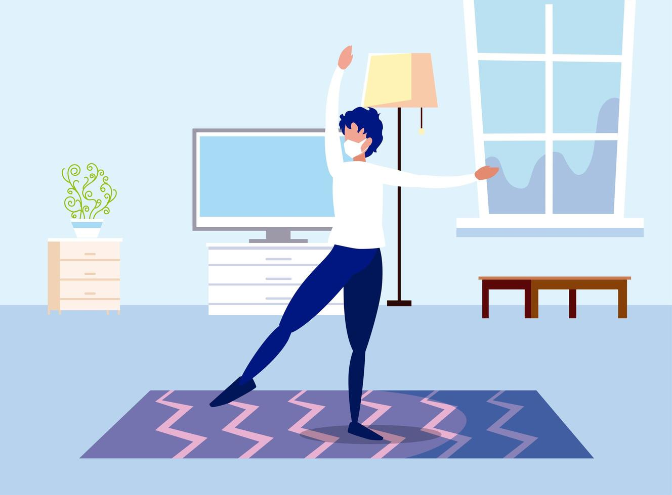 Man dancing with mask at home vector design