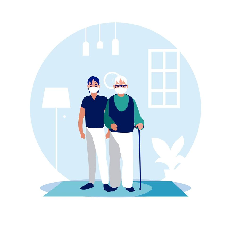 Man and grandfather with masks at home vector design