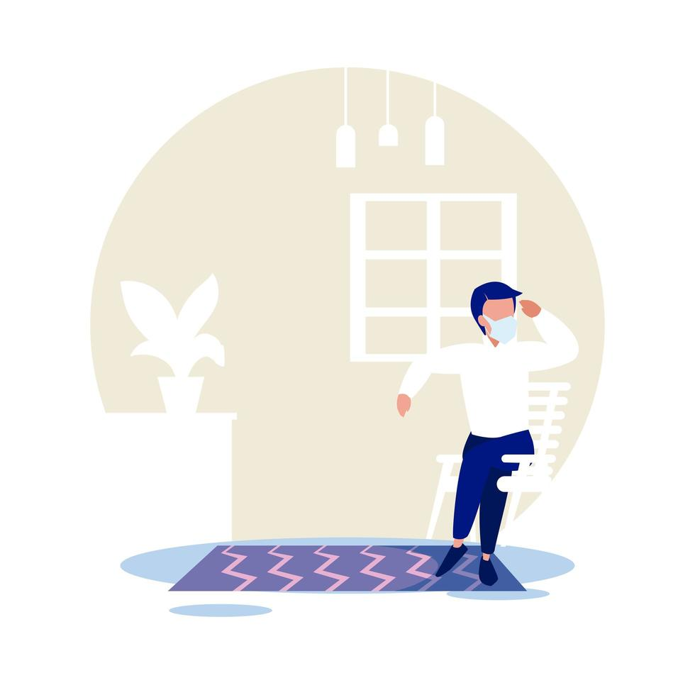Man with mask relaxing at home vector design