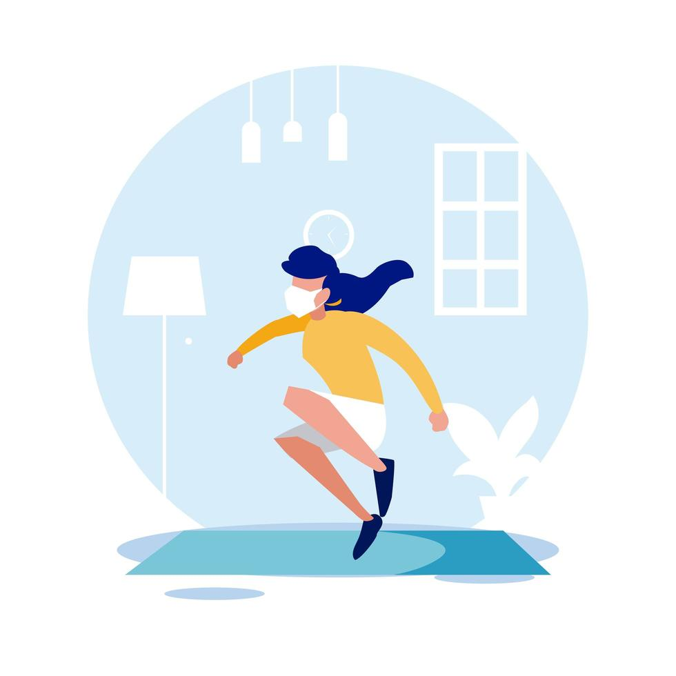 Woman jumping with mask at home vector design