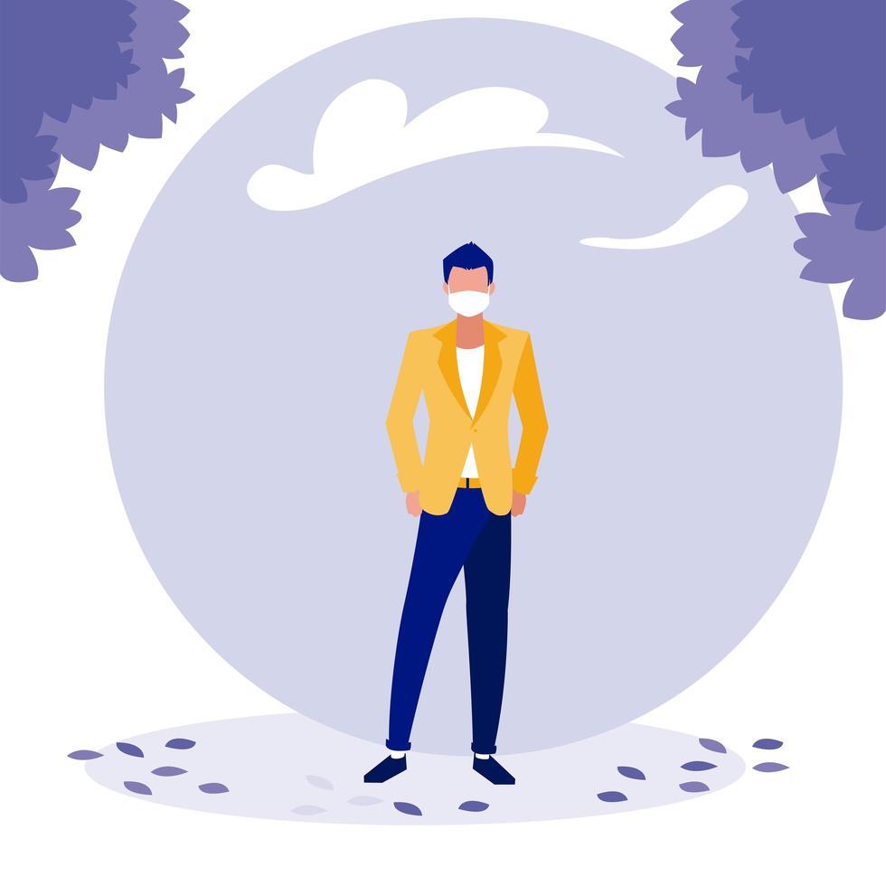 Hombre con máscara y árboles fuera de diseño vectorial vector