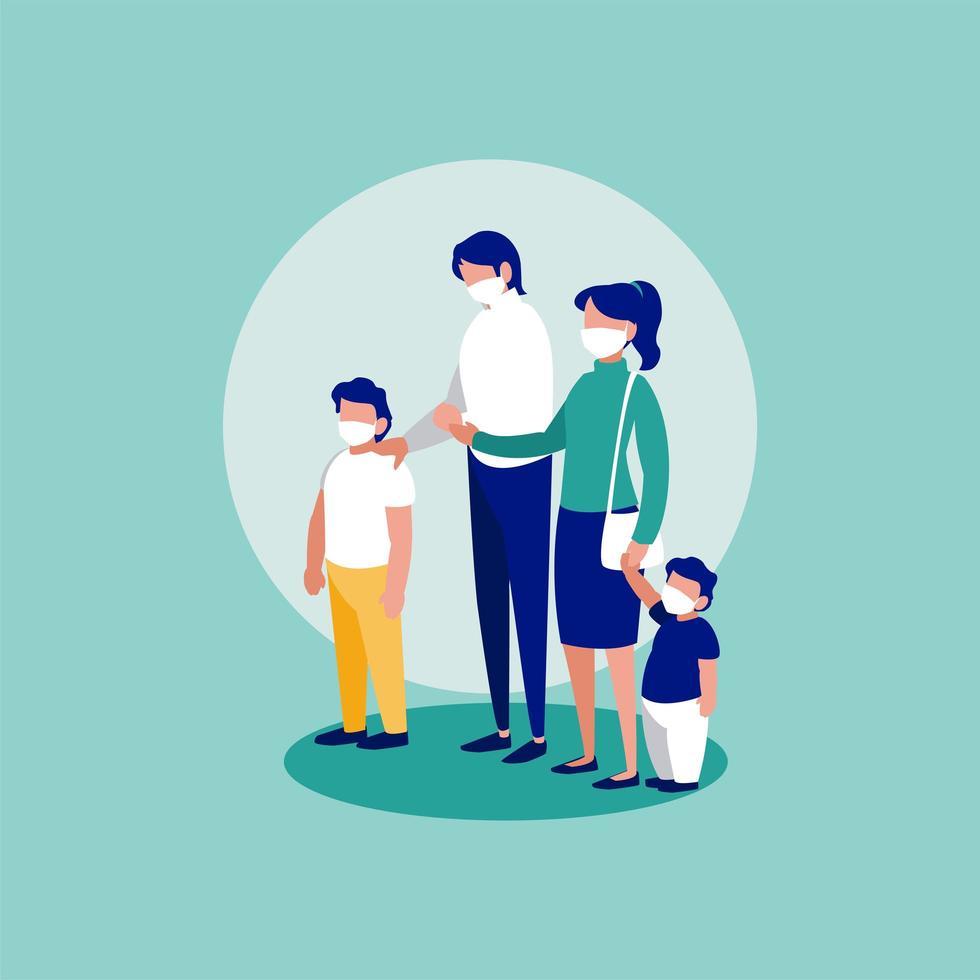 familia con máscaras frente a círculo diseño vectorial vector