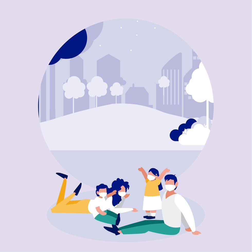 Familia con máscaras en el parque frente al diseño vectorial de la ciudad vector