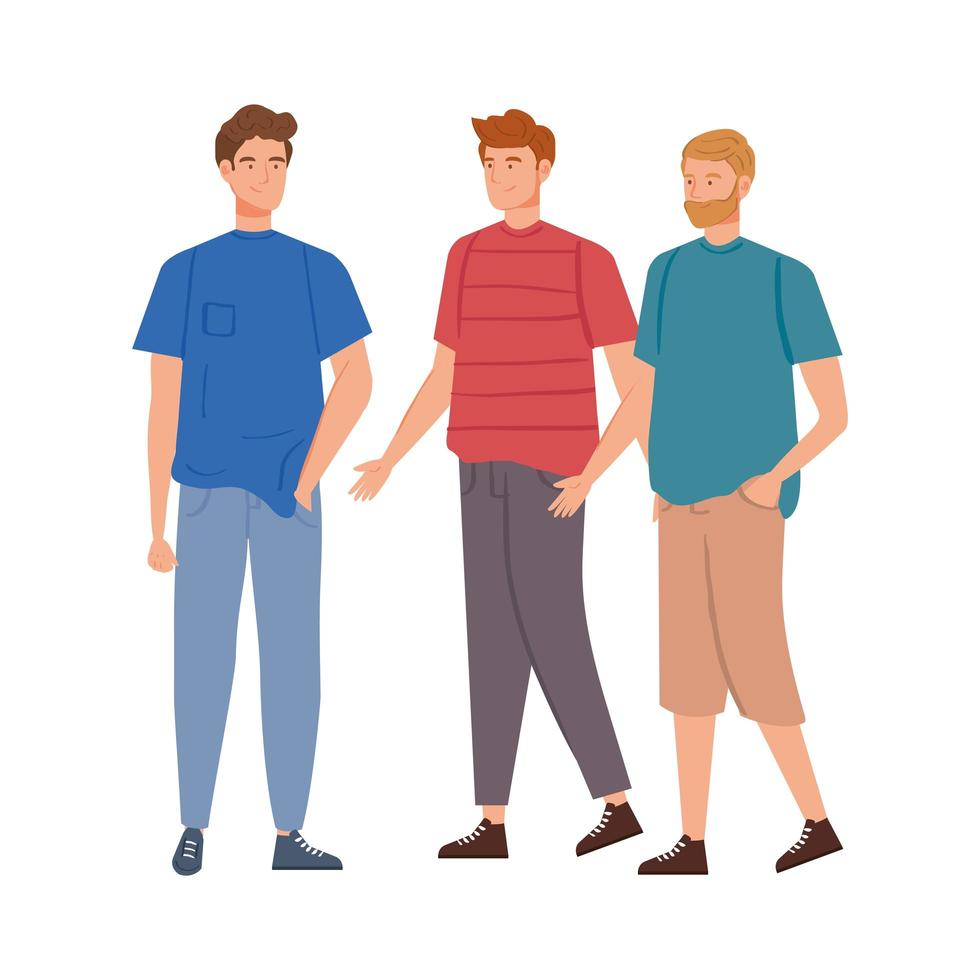 group of young men avatar characters vector