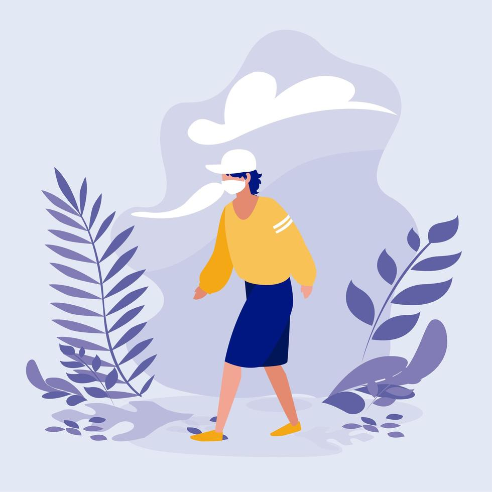 Man with mask and leaves outside vector design