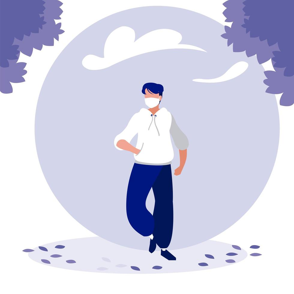 Man with mask and trees outside vector design