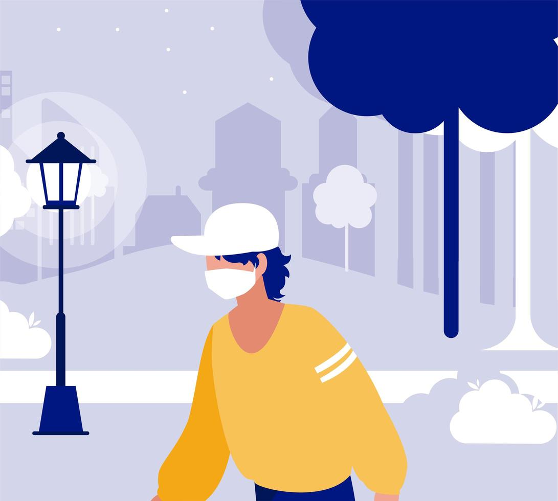 Man with mask outside at park vector design