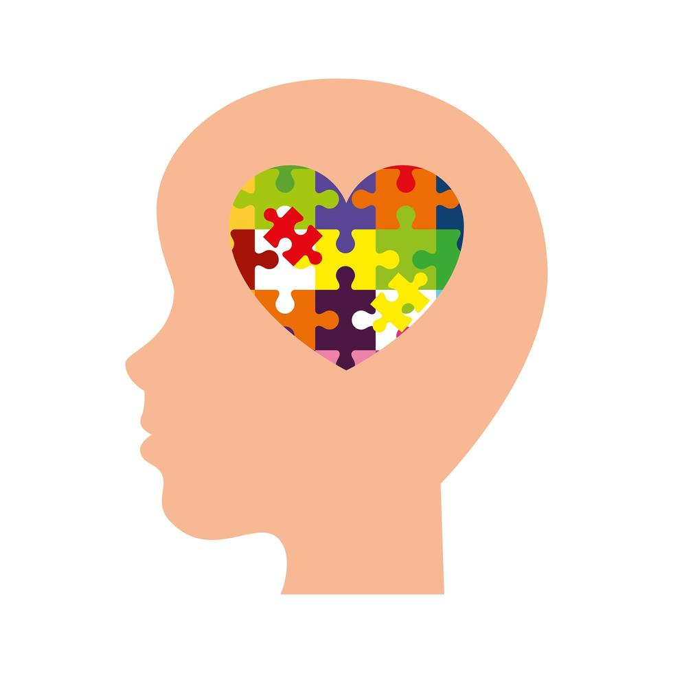 profile head and heart of with puzzle pieces vector