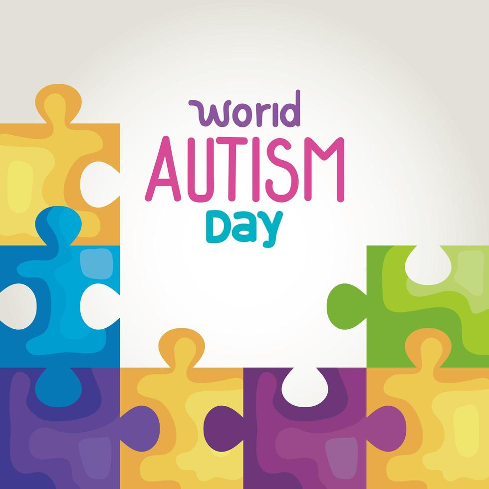 world autism day with puzzle pieces vector