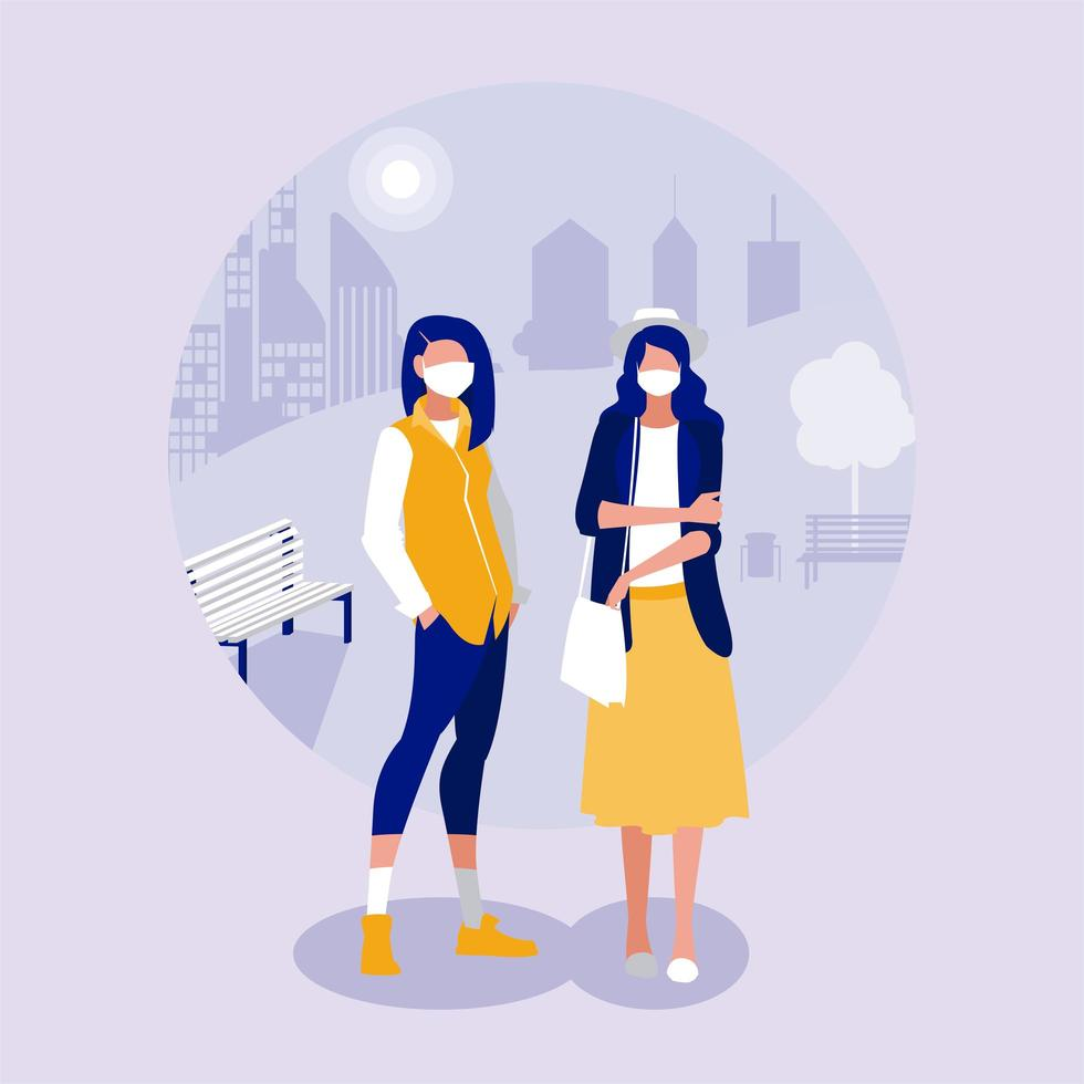 Women with masks at park vector design