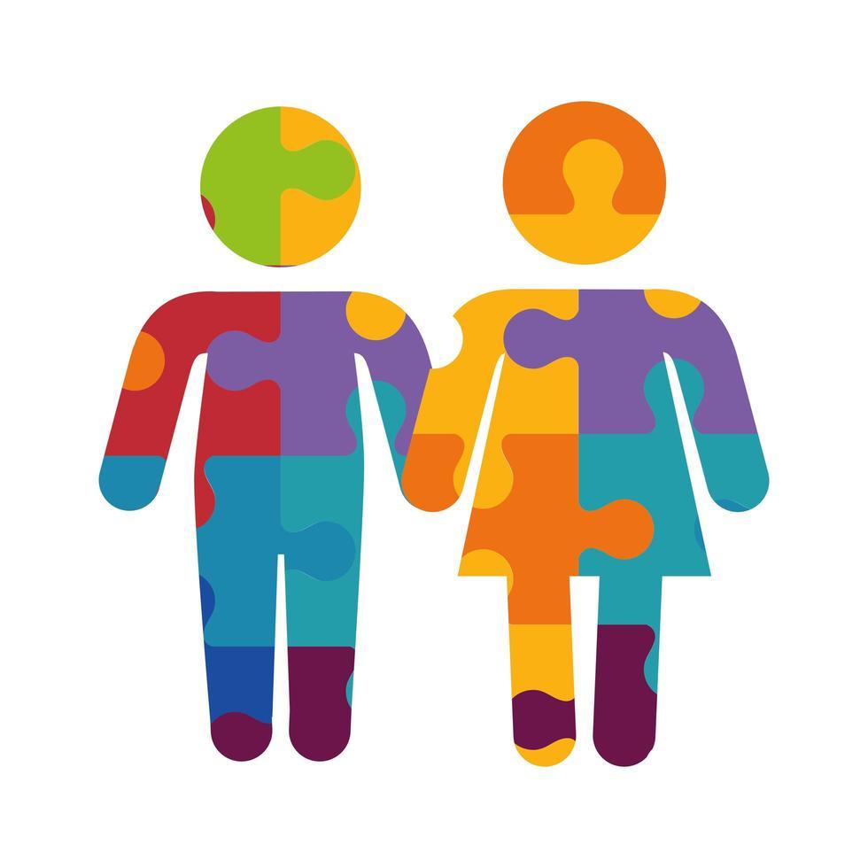Figura mujer y hombre de iconos de piezas de rompecabezas vector