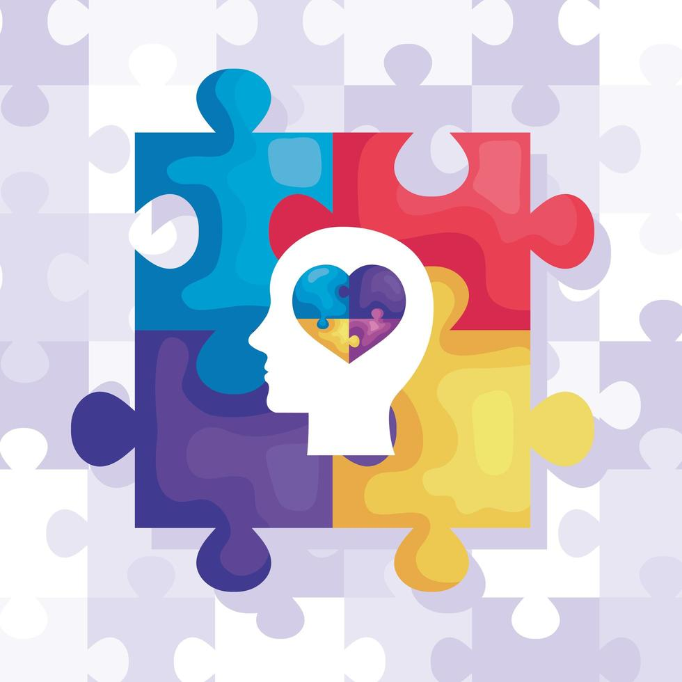 set of puzzle pieces and head profile with heart vector