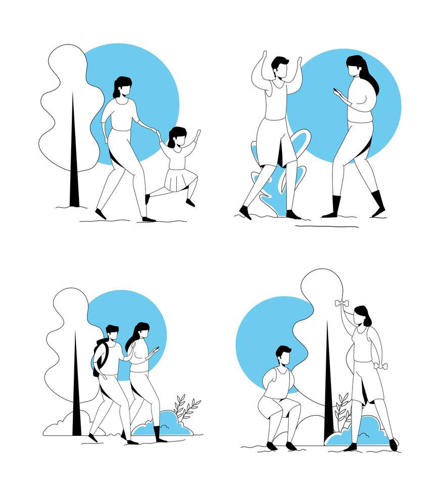 scenes of people practicing exercise vector