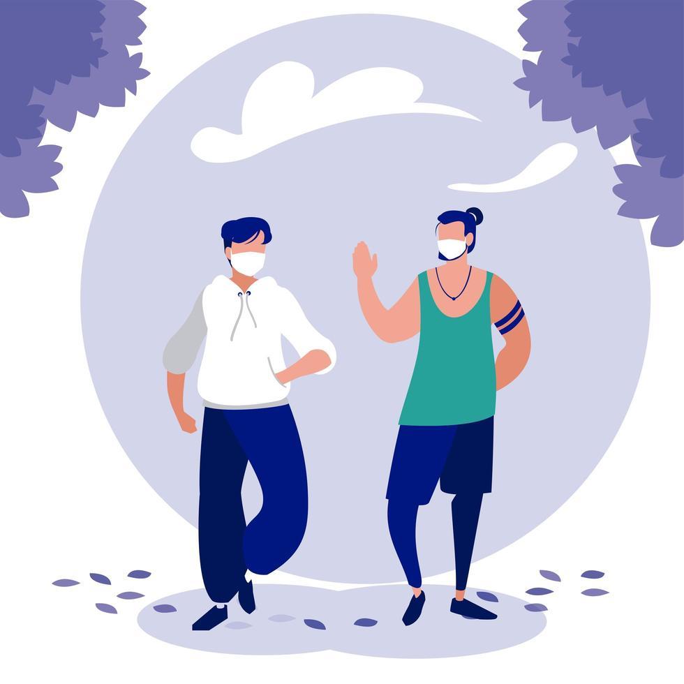 hombres con máscaras y árboles fuera de diseño vectorial vector