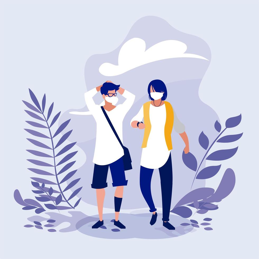 Men with masks and leaves outside vector design