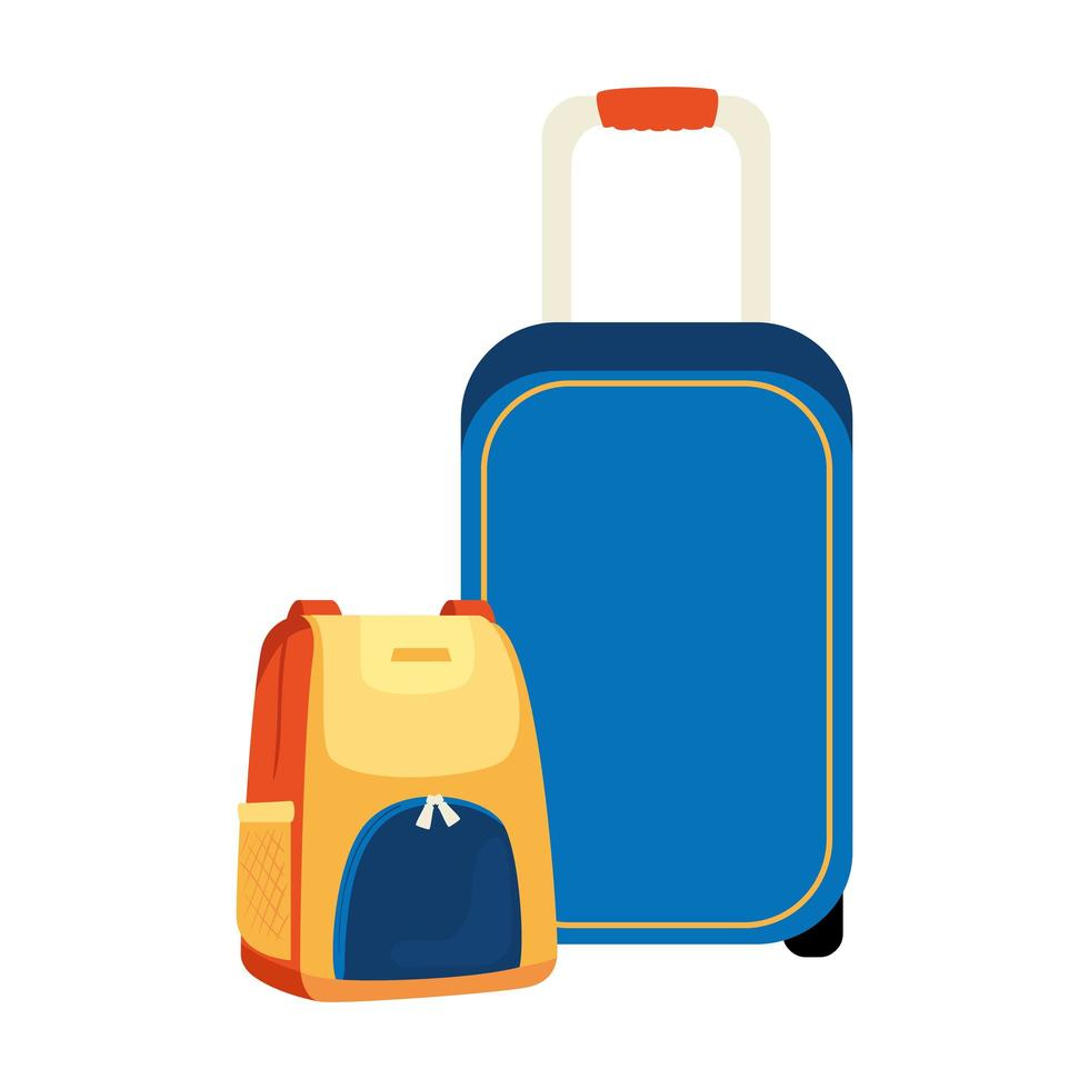 wheeled suitcase with backpack isolated icon vector