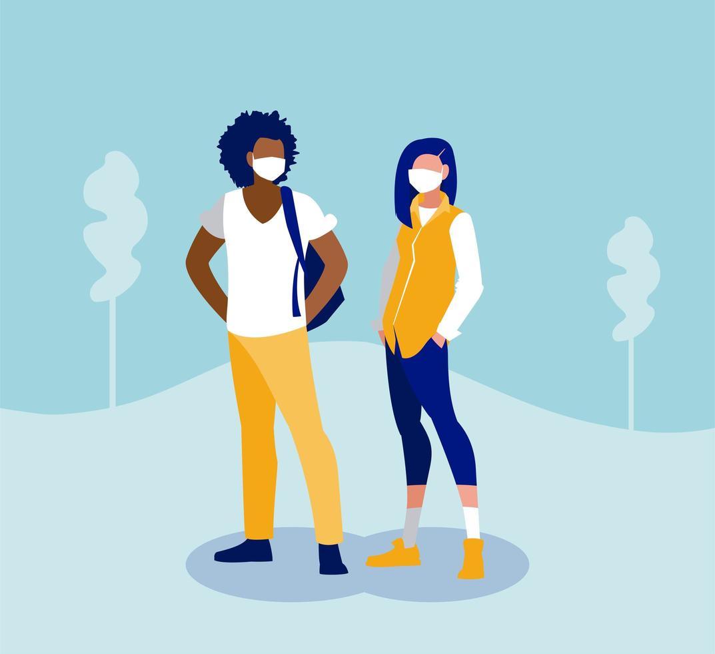 mujer y hombre con máscara fuera de diseño vectorial vector