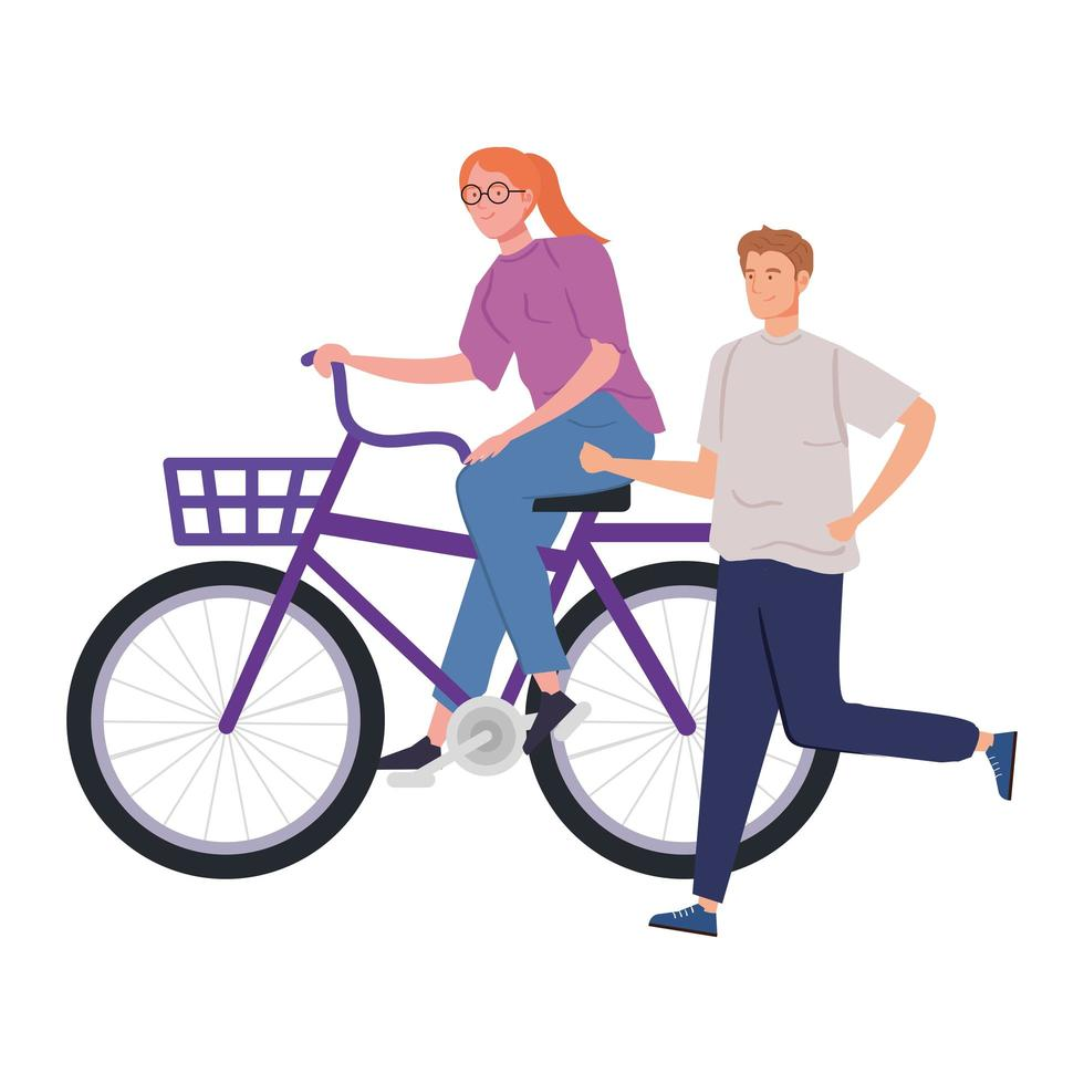 couple with bike avatar character vector