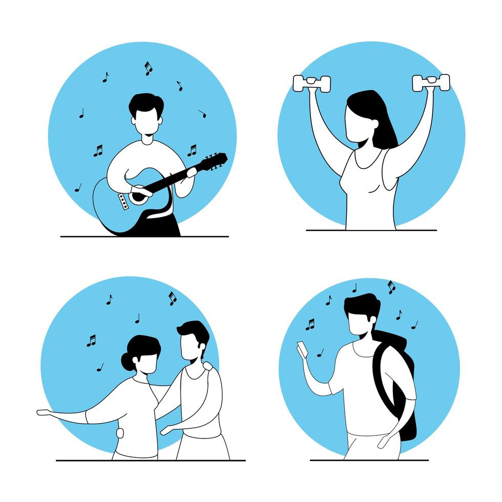 set scenes of young people doing activities vector