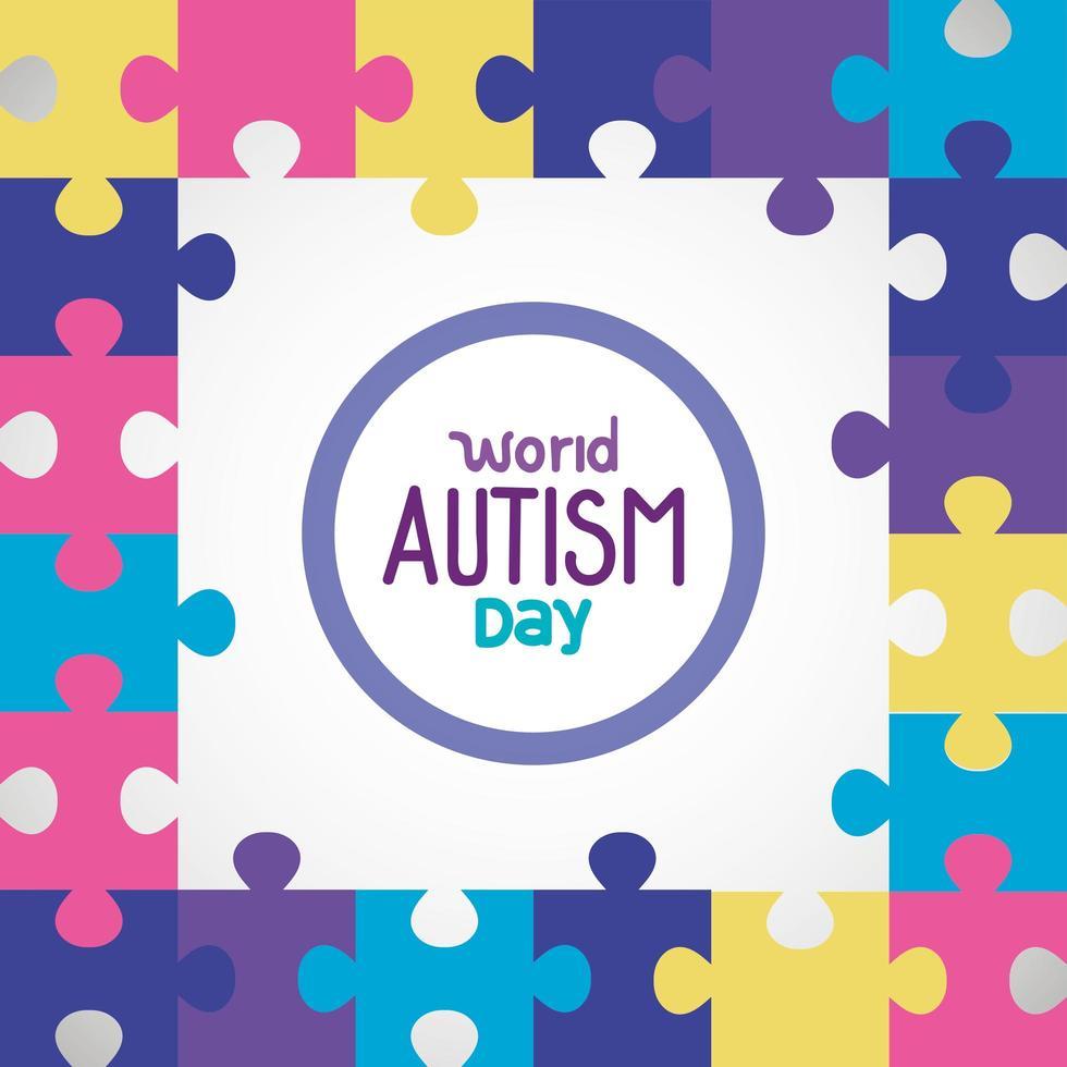 día mundial del autismo con piezas de rompecabezas vector