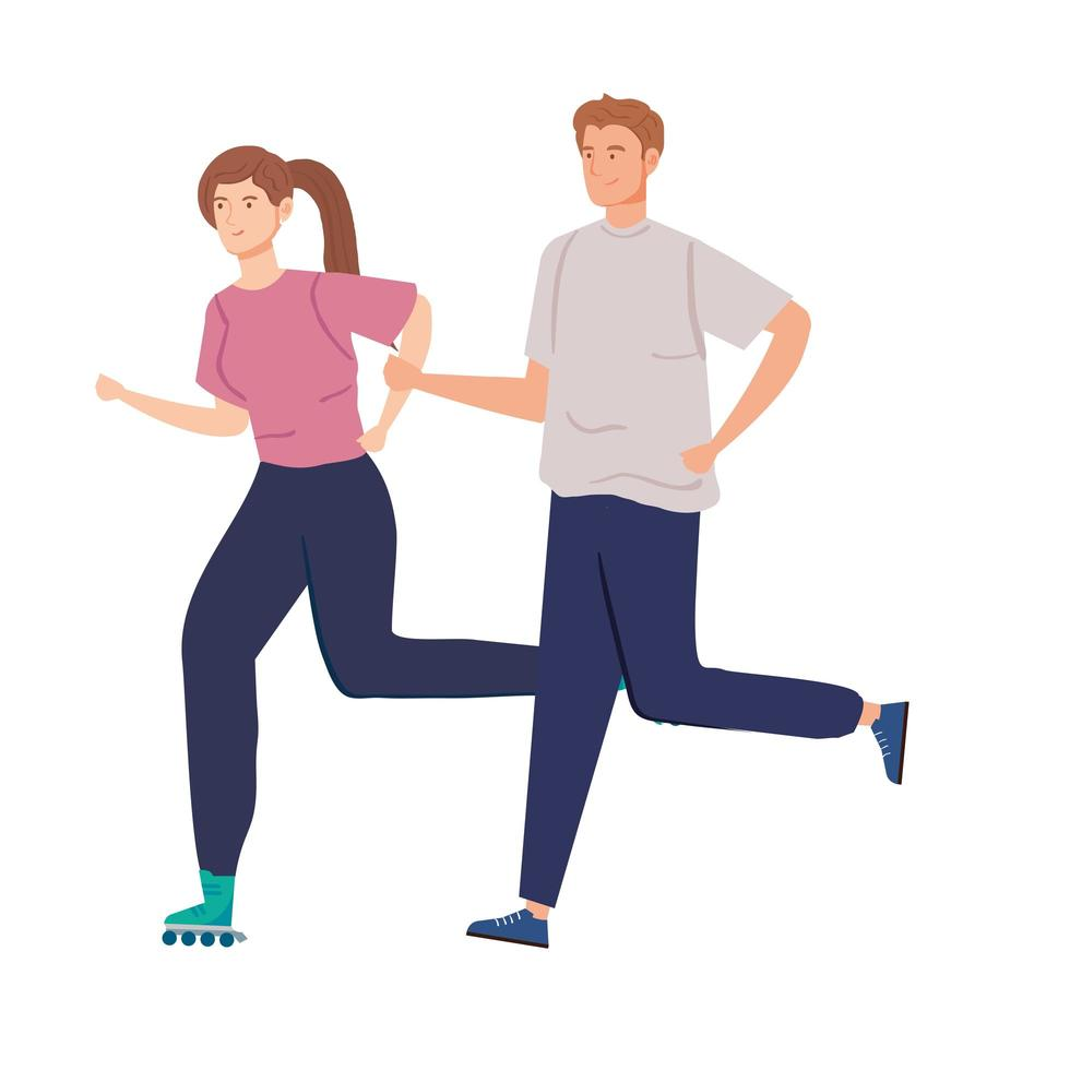cute couple practicing exercise avatar characters vector