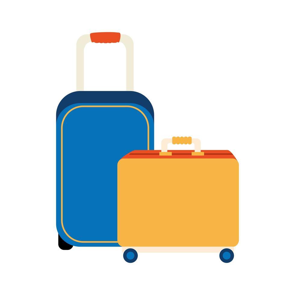 Conjunto de iconos aislados de maletas con ruedas vector