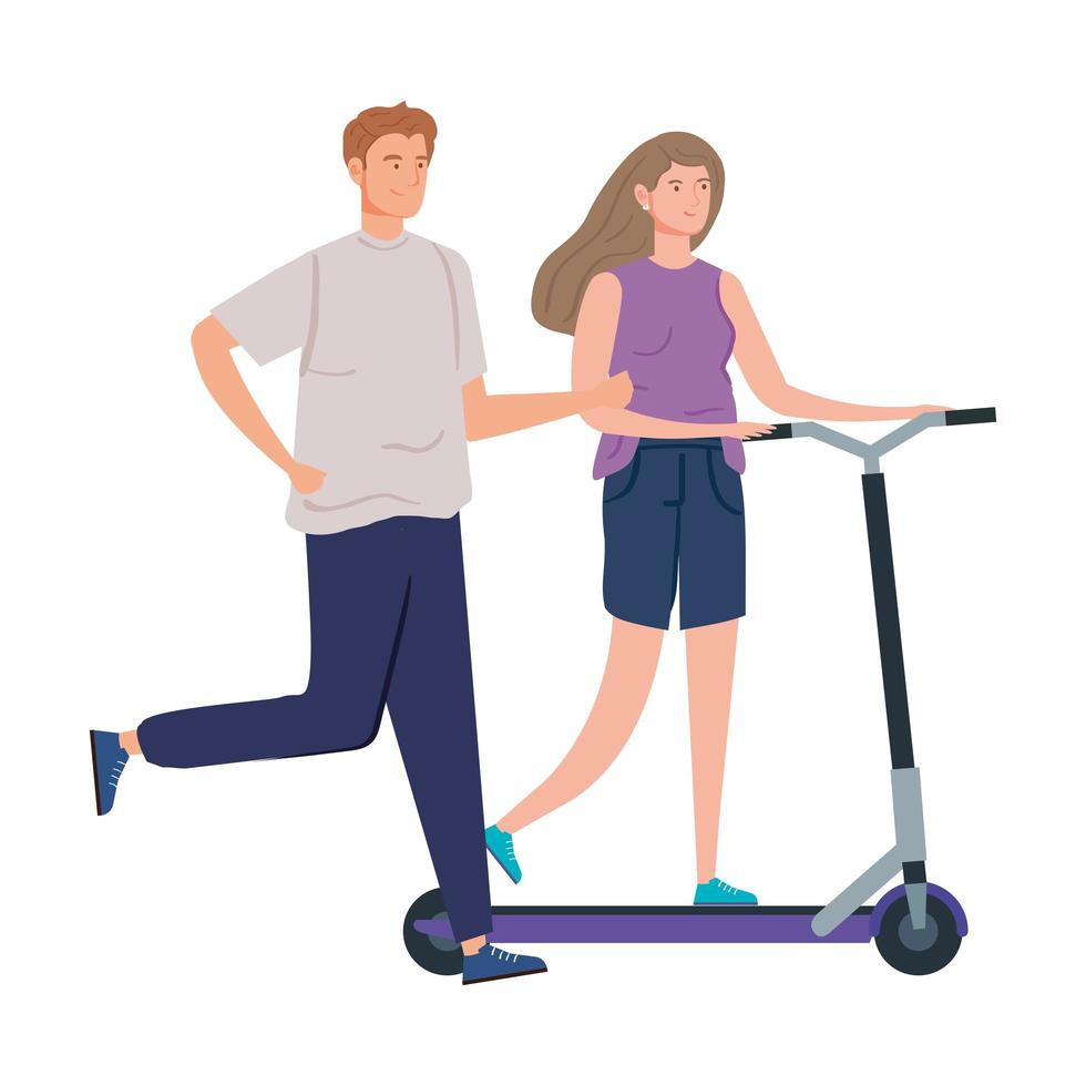 couple with scooter avatar character vector