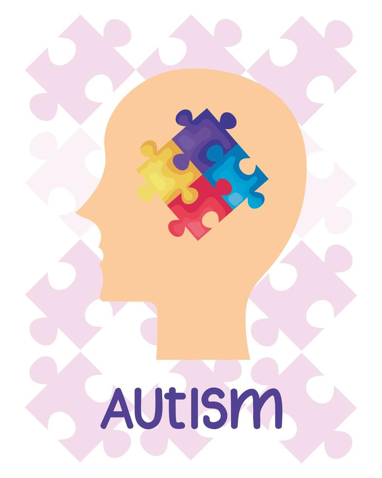 world autism day with head profile and puzzle pieces vector