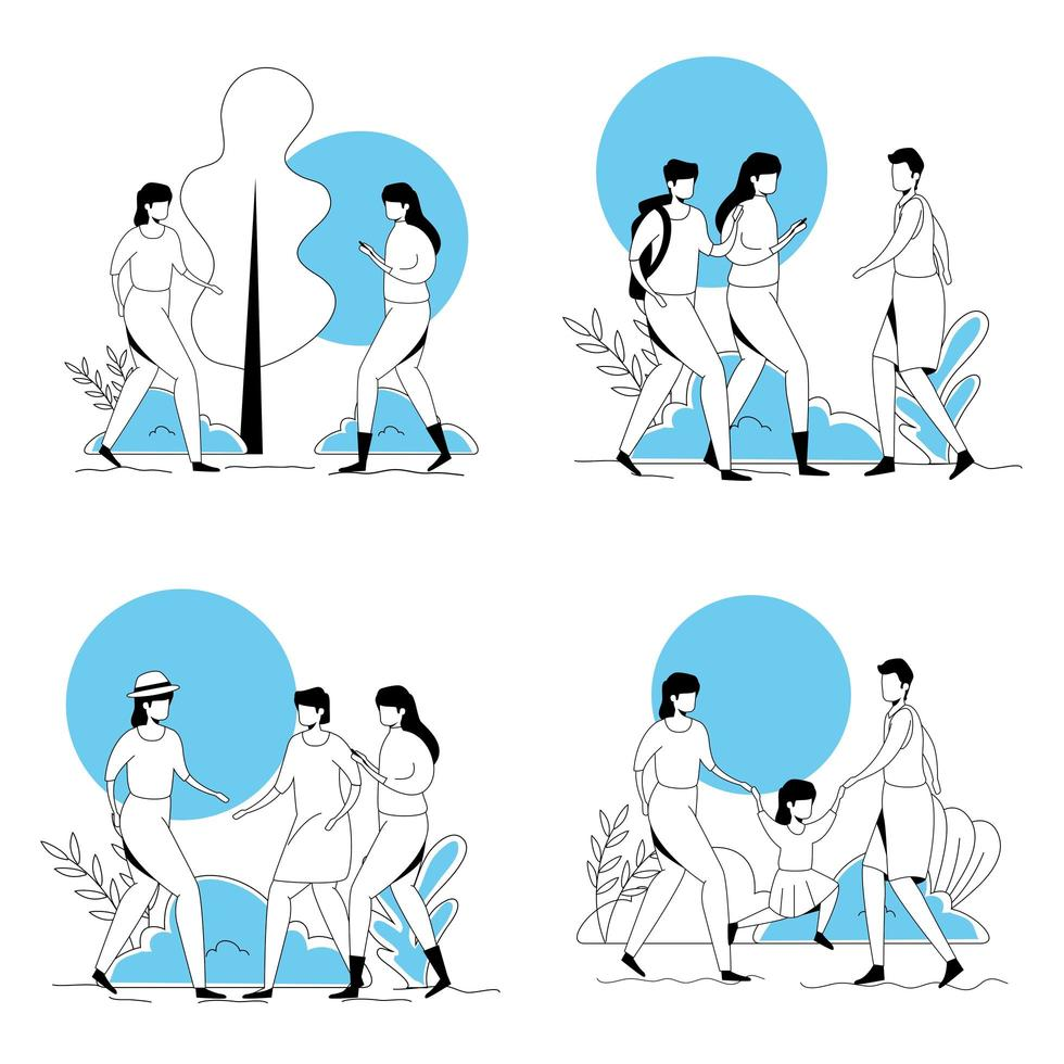 set scenes of group of young people doing activities vector