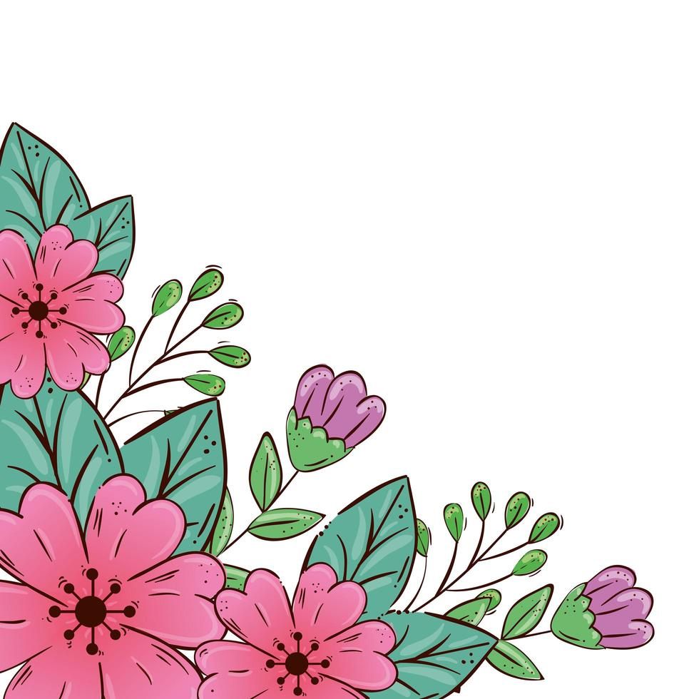 cute flowers pink and purple with leafs vector