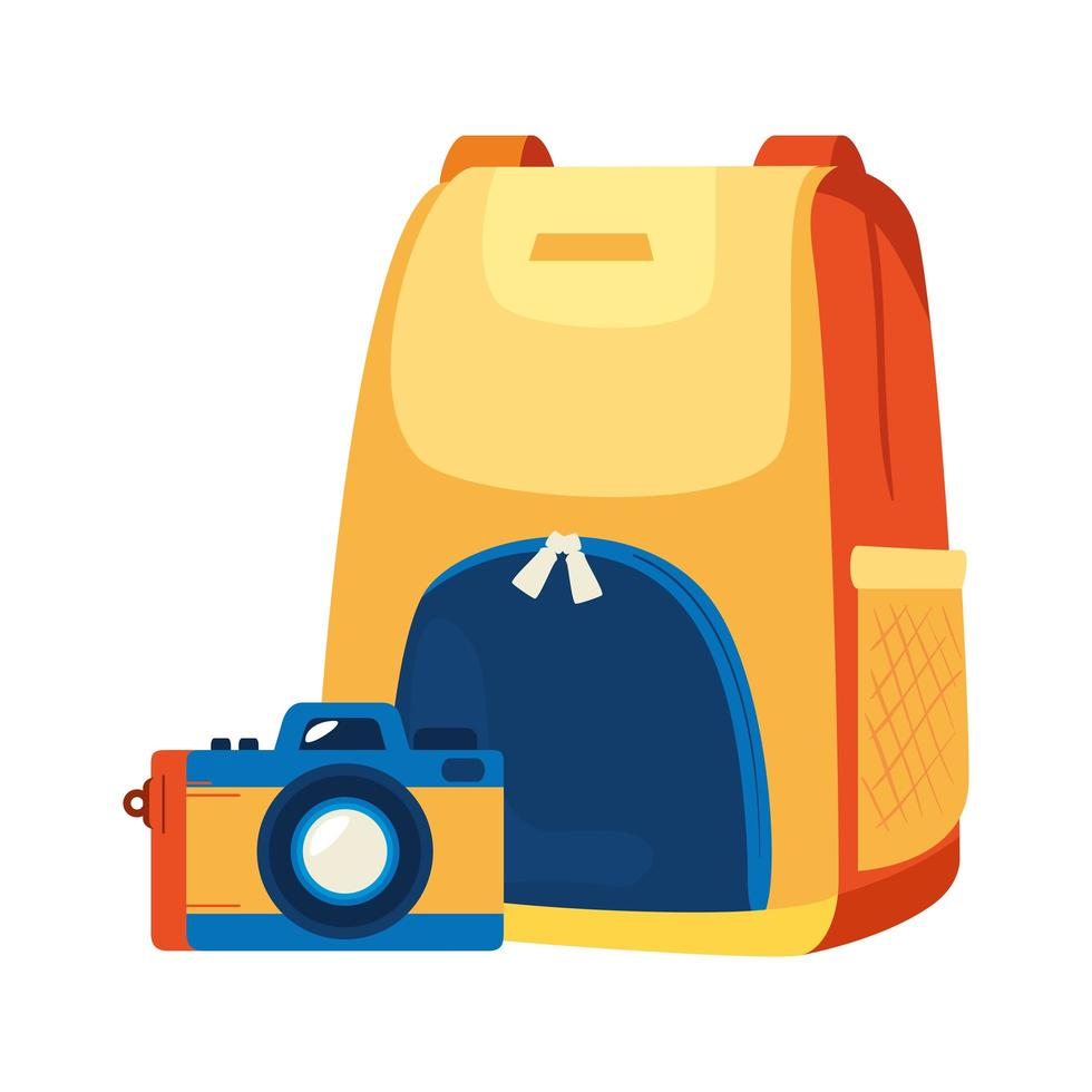 backpack with camera photographic isolated icon vector