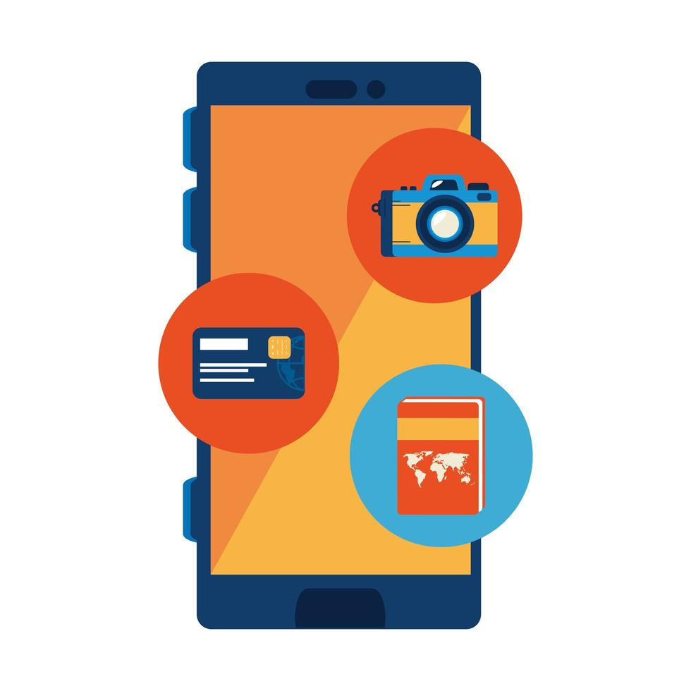 smartphone device with set icons vector
