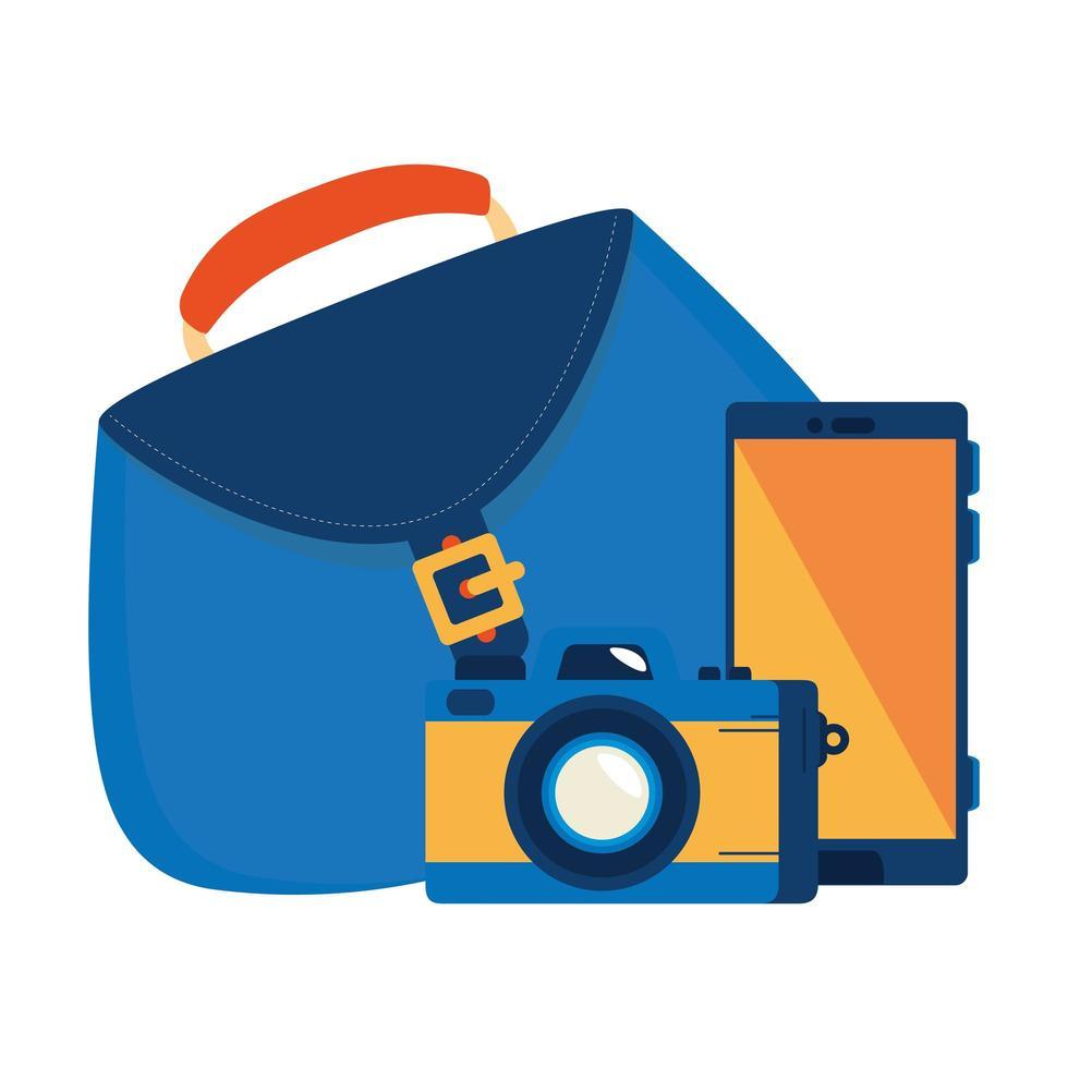 smartphone con fotografía de cámara y bolso de mujer vector