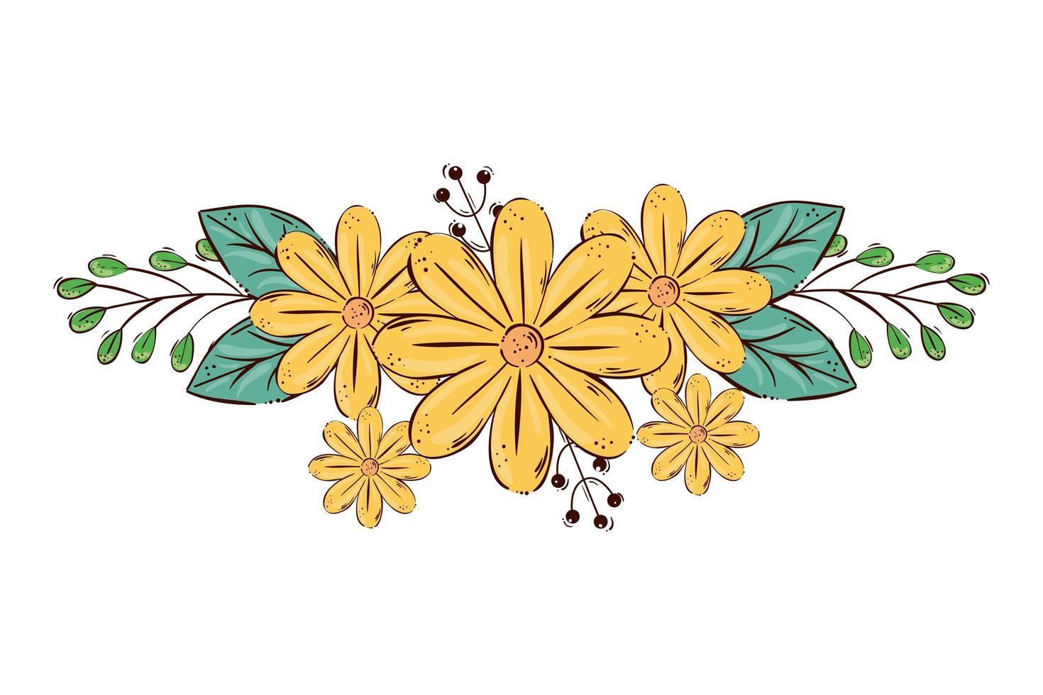 Lindas flores de color amarillo con ramas y hojas icono aislado vector